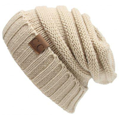 Outdoor CC Label Decorated Flanging Knitted Beanie