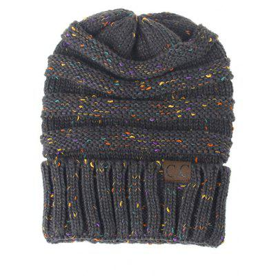 Outdoor CC Label Decorated Colormix Knitted Beanie