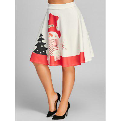 Buy WHITE 3XL Plus Size High Waisted Snowman Print Christmas Skirt for $20.78 in GearBest store