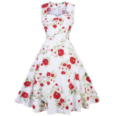 Vintage Floral Print Party Pin Up Dress
