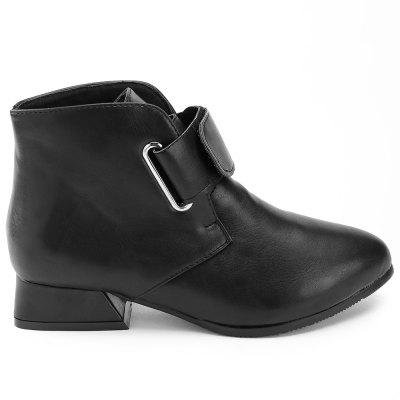 Faux Leather Hook and Loop Ankle Boots