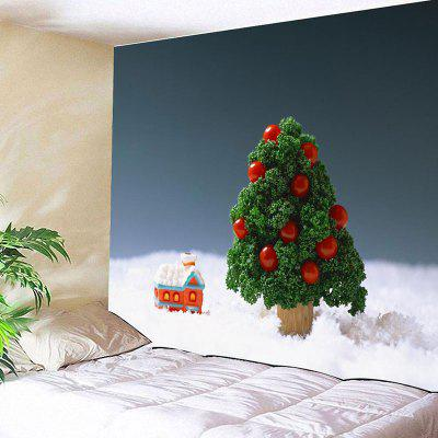 Wall Hanging Christmas Cottage and Tree Tapestry