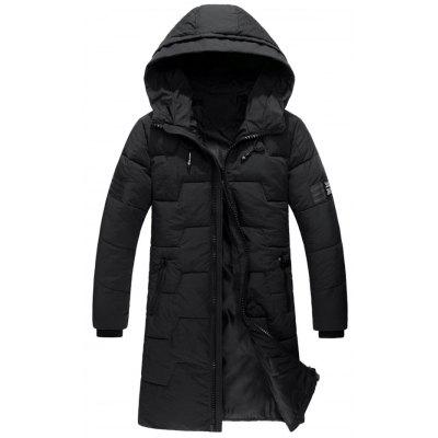 Buy Zip Up Flag Patch Hooded Quilted Coat, BLACK, 2XL, Apparel, Men's Clothing, Men's Jackets & Coats for $90.20 in GearBest store