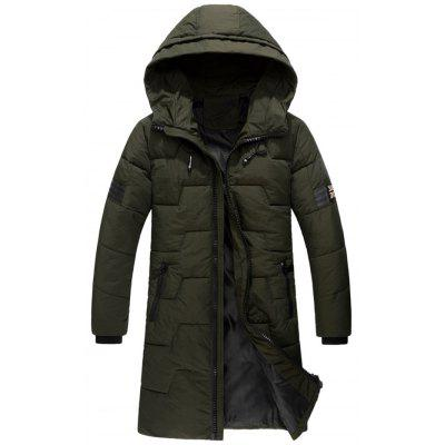 Buy Zip Up Flag Patch Hooded Quilted Coat, ARMY GREEN, 2XL, Apparel, Men's Clothing, Men's Jackets & Coats for $90.20 in GearBest store