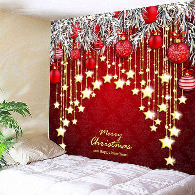Christmas Ball and Star Print Wall Decor Tapestry