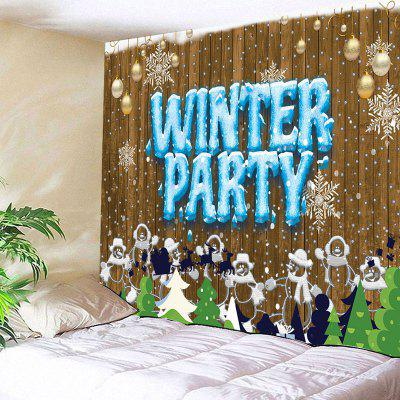 Christmas Snowmen Winter Party Print Wall Tapestry