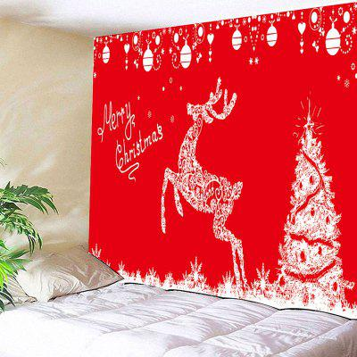 Christmas Tree and Jumping Deer Print Wall Art Tapestry