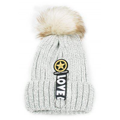 Letter and Star Decorated Flanging Knitted Pom Beanie