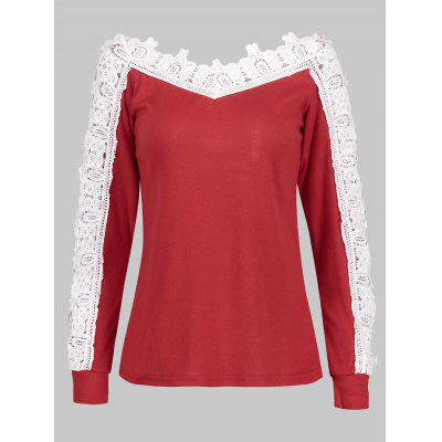 Hollow Out Crochet Sleeve V-neck Blouse