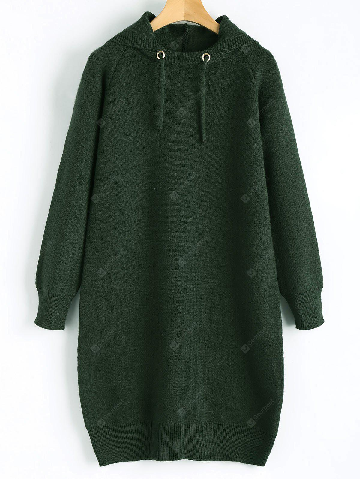 BLACKISH GREEN Hooded Knitted Dress