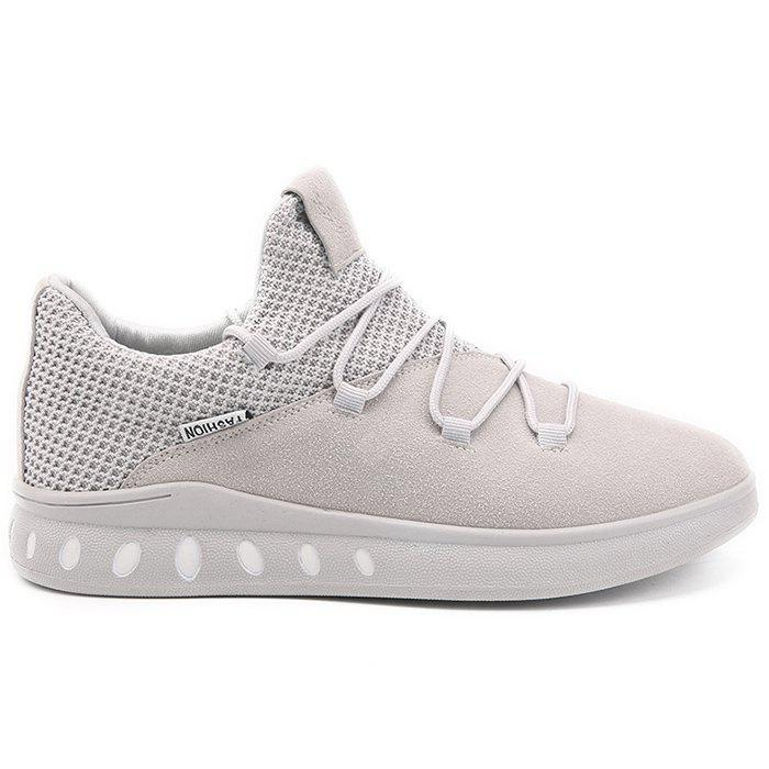 Mesh and Suede Panel Casual Athletic Shoes