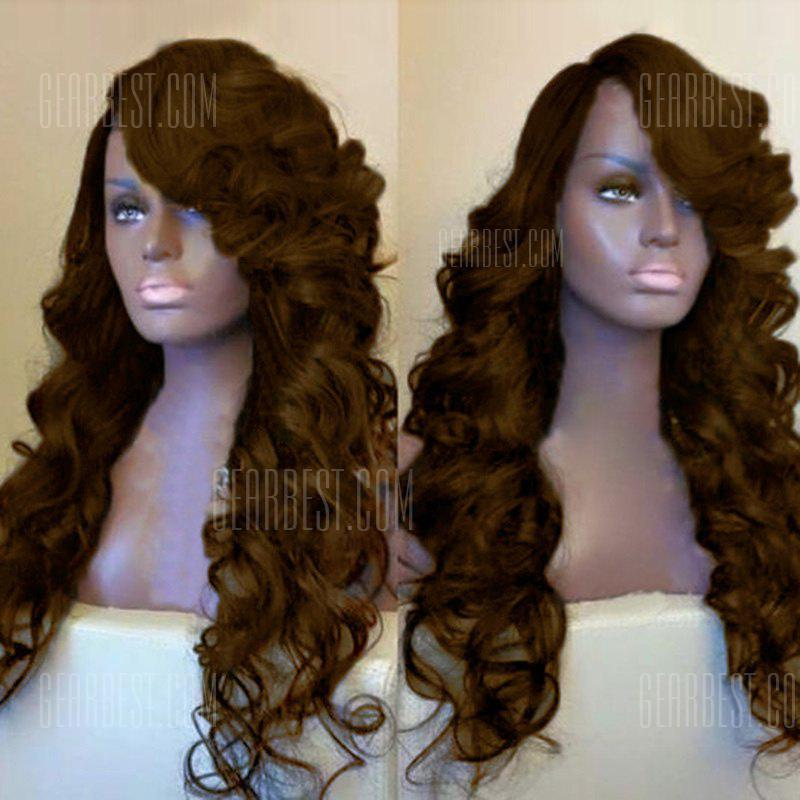 Buy Side Parting Long Fluffy Loose Wave Synthetic Wig BROWN