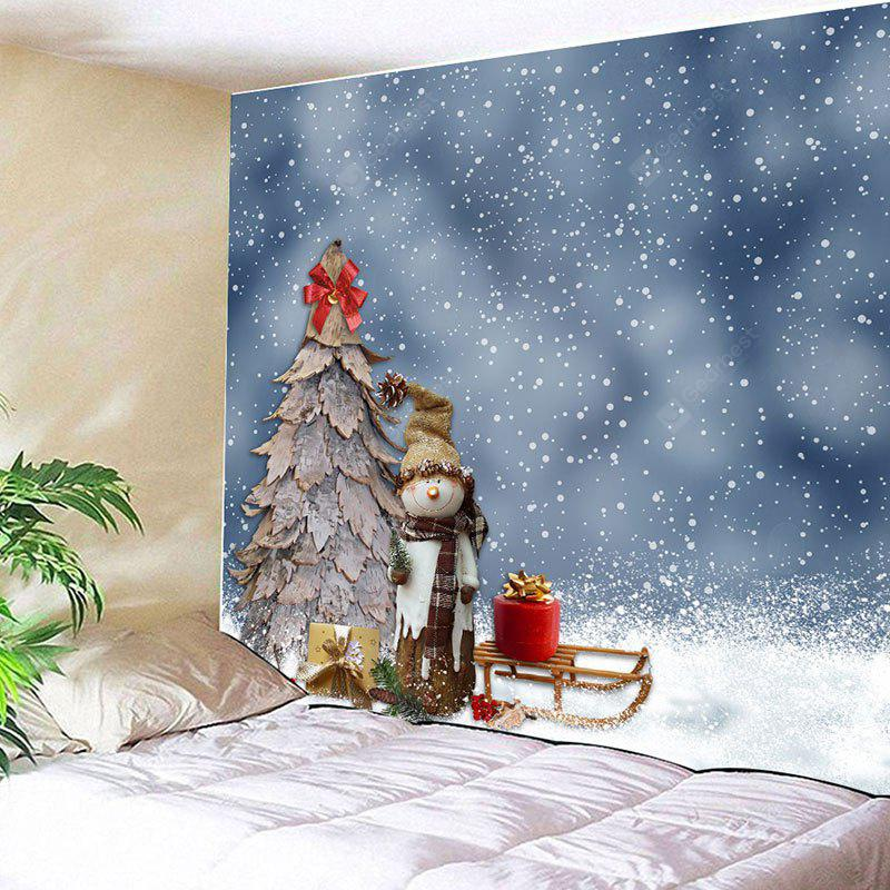 Straw Hat Snowman and Wood Christmas Tree Wall Decor Tapestry