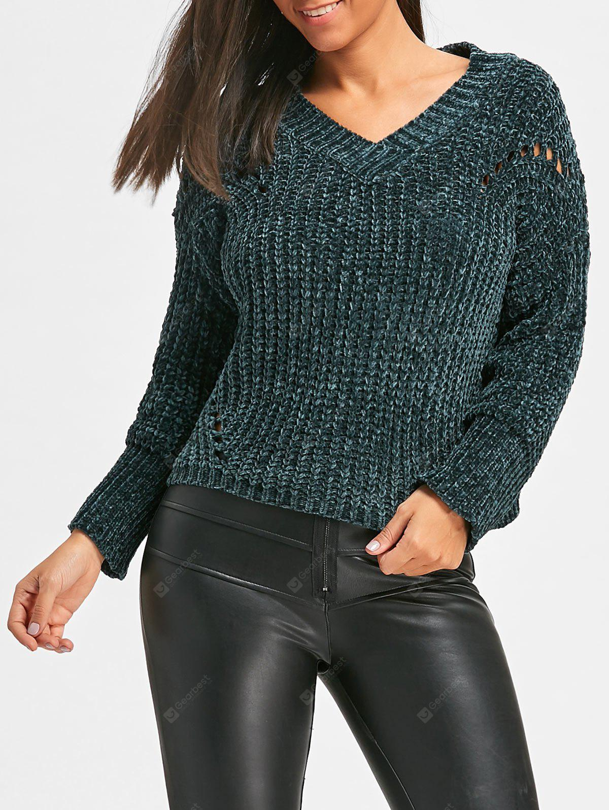 V Neck Hollow Out Chunky Sweater