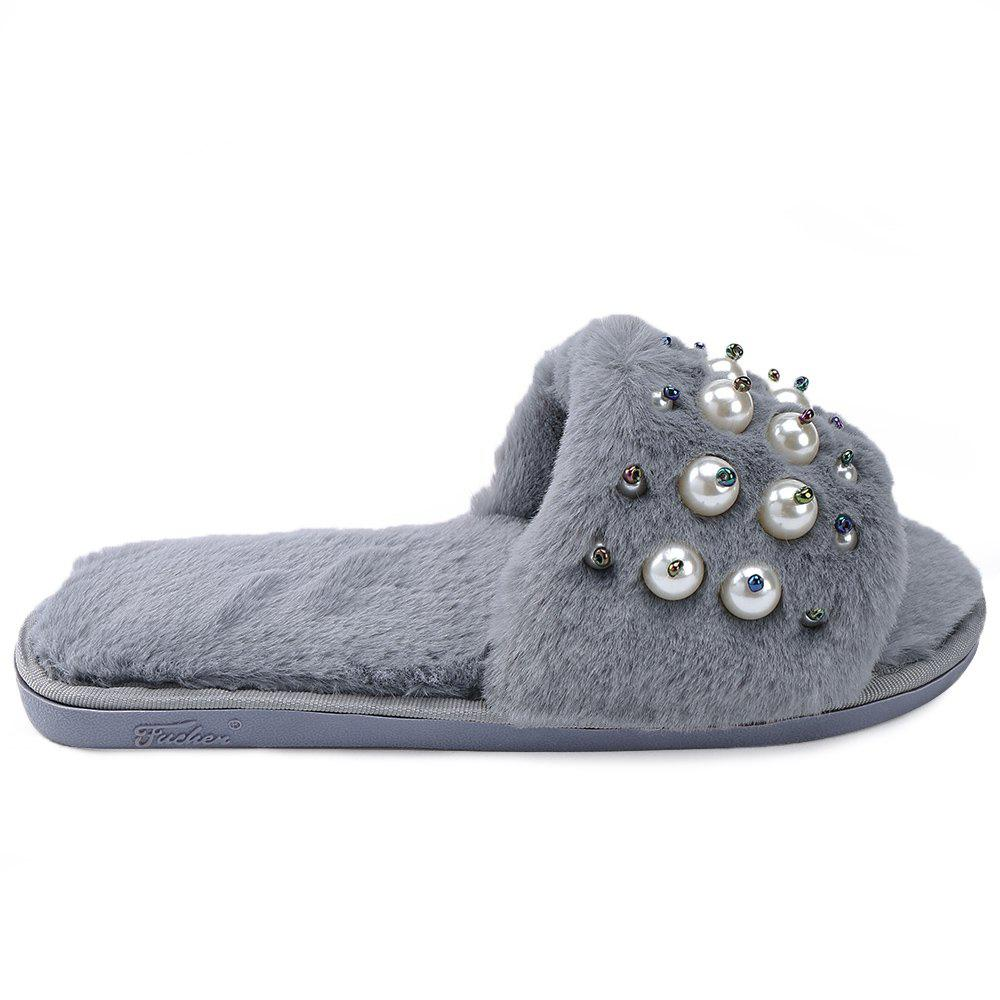 Faux Pearl Open Toe Plush Furry Indoor Slippers