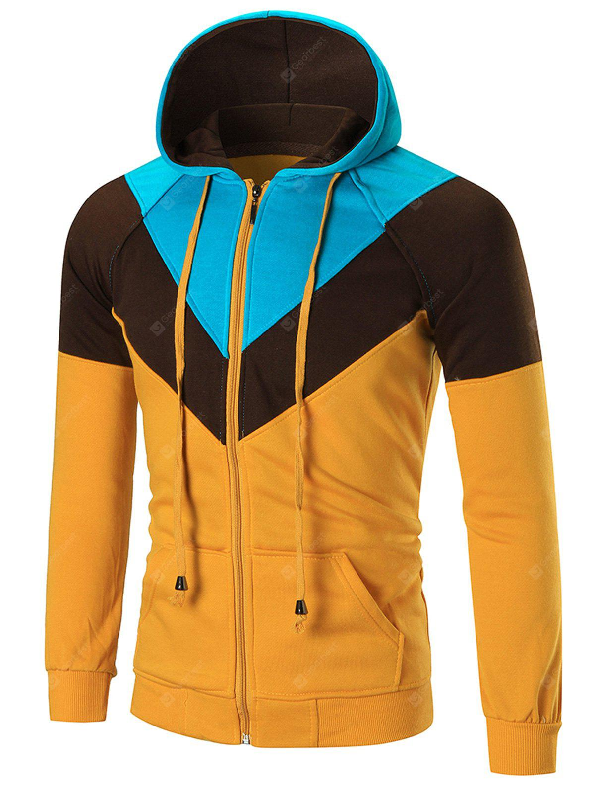 Casual Colorblocked Zip Up Hoodie