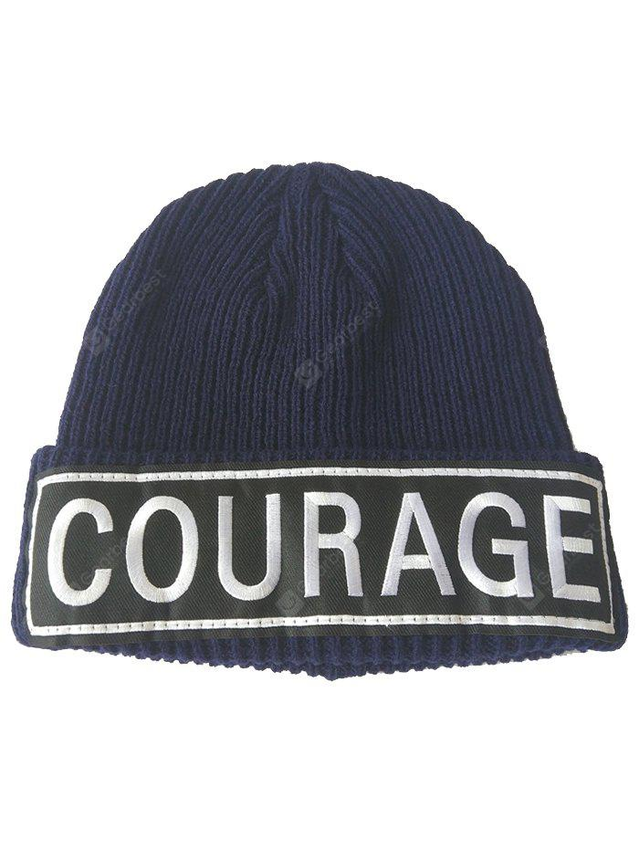 COURAGE Pattern Decorated Crochet Knitted Beanie