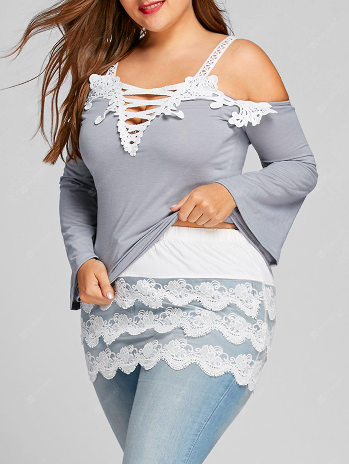 WHITE 3XL Plus Size Layered Scalloped Lace Extender Skirt