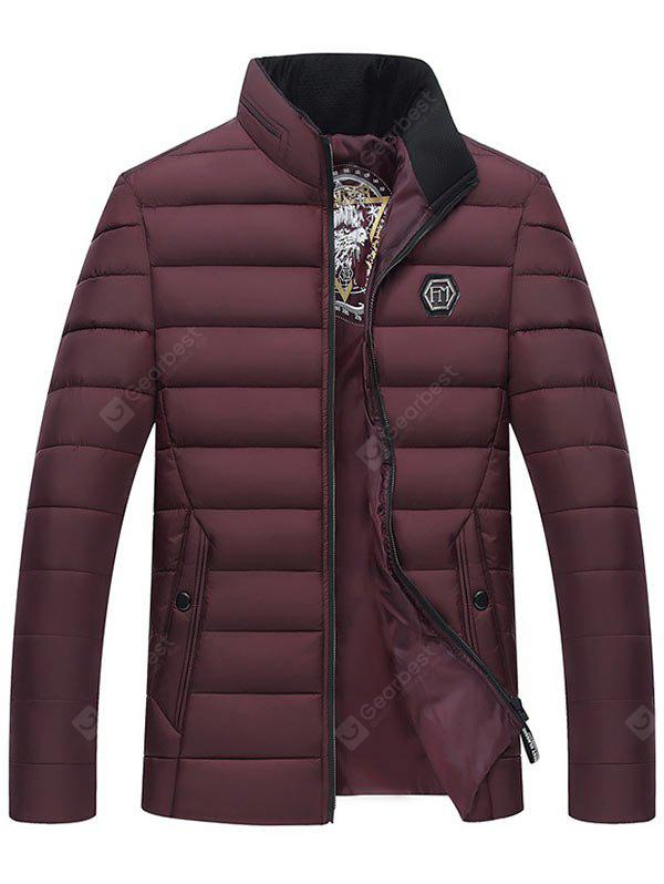 Full Zip Stand Collar Padded Jacket, WINE RED, XL, Apparel, Men's Clothing, Men's Jackets & Coats