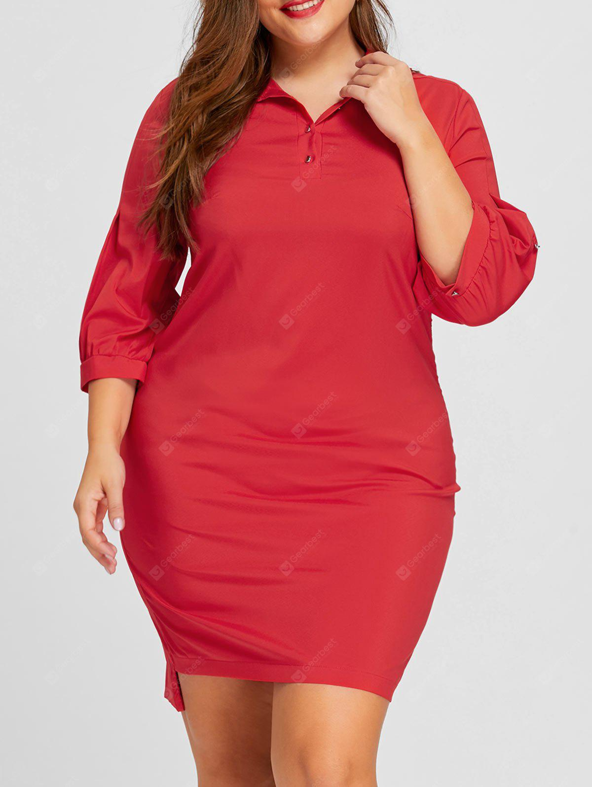 RED 5XL Plus Size Lantern Sleeve Shirt Dress