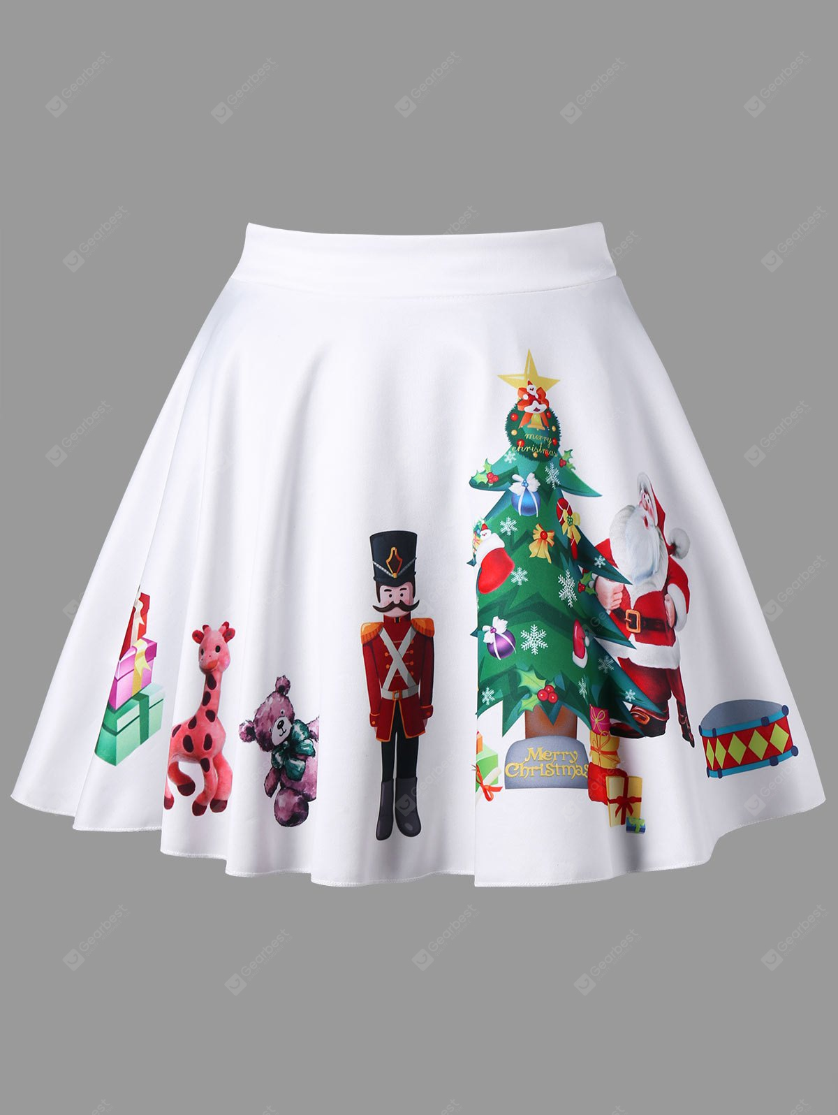 WHITE 4XL Plus Size Christmas Print Flared Mini Skirt