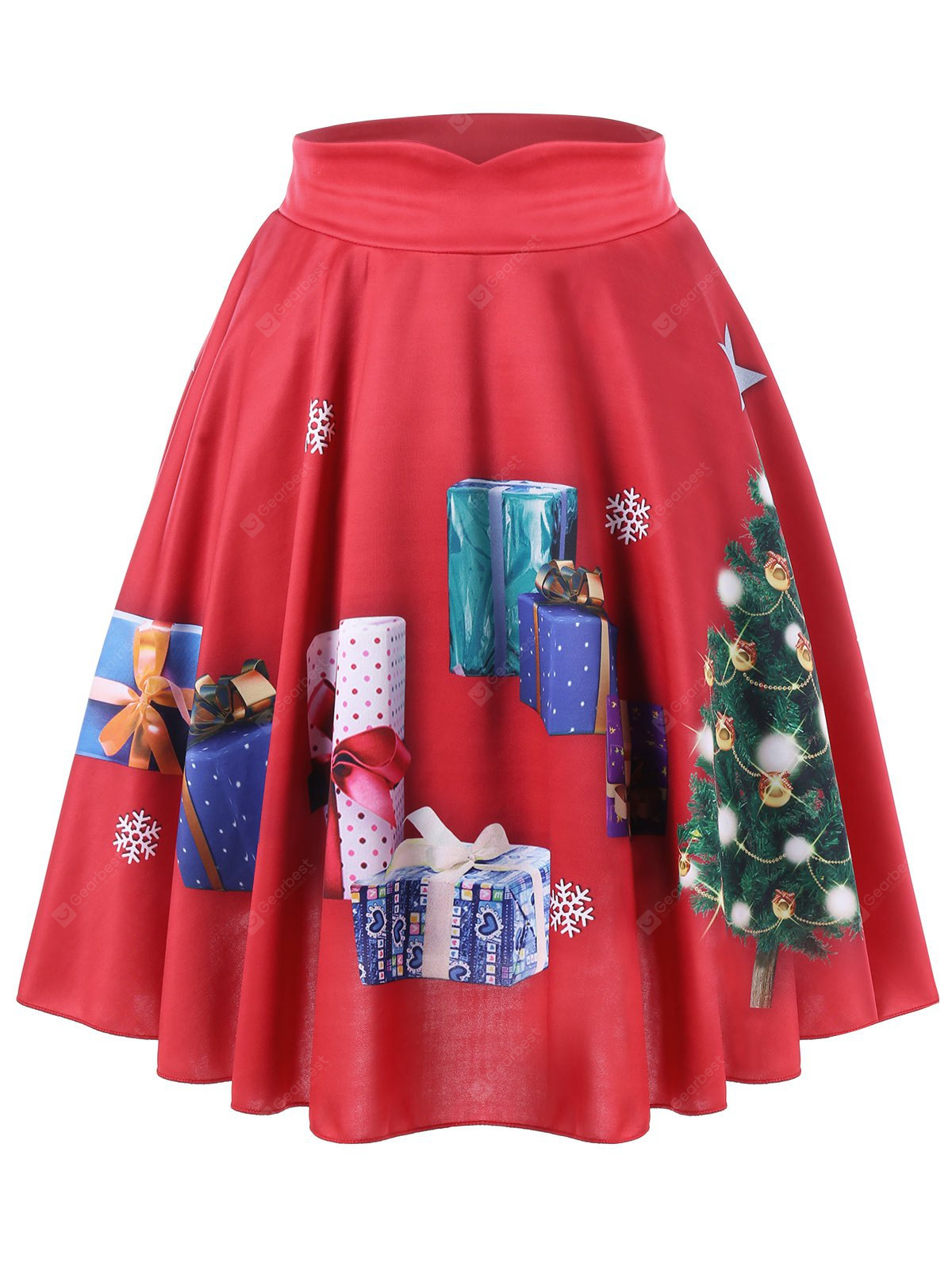 RED 3XL Christmas Plus Size Tree and Gift Print Midi Skirt