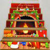 Christmas Fireplace Pattern Stair Stickers - RED AND ORANGE