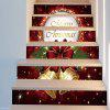 Christmas Bells Pattern 6Pcs Stair Stickers - DEEP RED