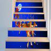 Starry Moon Night Christmas Sleigh Pattern Stair Stickers - BLUE AND RED