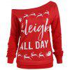 Christmas Sleigh All Day Plus Size Elk Sweatshirt - RED
