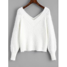 Fuzzy V Neck Cropped Sweater
