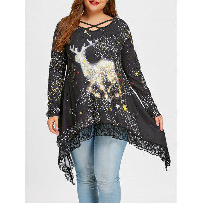 Plus Size Reindeer Galaxy Lace Hem Top