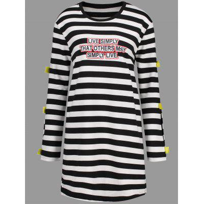 Buy WHITE 4XL Plus Size Letter Cutout Stripe Tunic Dress for $27.03 in GearBest store