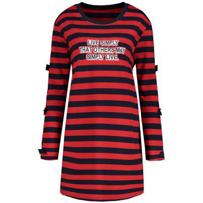 Buy RED 4XL Plus Size Letter Cutout Stripe Tunic Dress for $27.03 in GearBest store