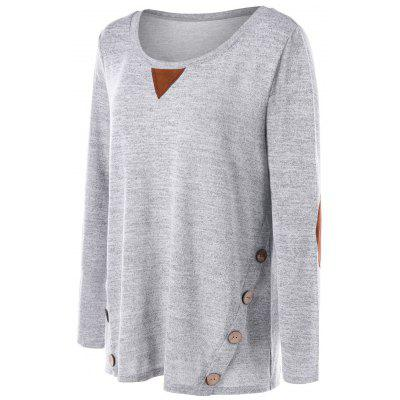 Plus Size Button Embellished Elbow Patch T-shirtPlus Size Tops<br>Plus Size Button Embellished Elbow Patch T-shirt<br><br>Collar: Scoop Neck<br>Material: Polyester, Rayon, Spandex<br>Package Contents: 1 x Top<br>Pattern Type: Solid<br>Season: Fall, Spring<br>Shirt Length: Long<br>Sleeve Length: Full<br>Style: Casual<br>Weight: 0.3400kg