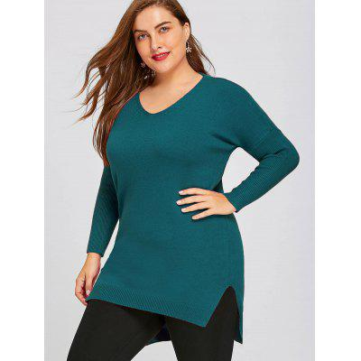 Plus Size Drop Shoulder High Low Tunic SweaterPlus Size<br>Plus Size Drop Shoulder High Low Tunic Sweater<br><br>Collar: V-Neck<br>Material: Polyester<br>Package Contents: 1 x Sweater<br>Pattern Type: Solid<br>Season: Winter, Fall<br>Sleeve Length: Full<br>Style: Fashion<br>Type: Pullovers<br>Weight: 0.5300kg