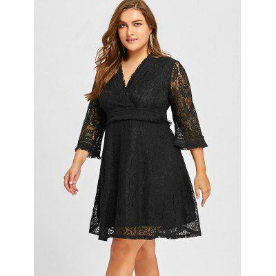 Plus Size Floral Lace Fringed Surplice DressPlus Size Dresses<br>Plus Size Floral Lace Fringed Surplice Dress<br><br>Dresses Length: Knee-Length<br>Embellishment: Lace<br>Material: Polyester<br>Neckline: V-Neck<br>Package Contents: 1 x Dress<br>Pattern Type: Solid Color<br>Season: Fall, Spring<br>Silhouette: A-Line<br>Sleeve Length: 3/4 Length Sleeves<br>Style: Casual<br>Weight: 0.4300kg<br>With Belt: No