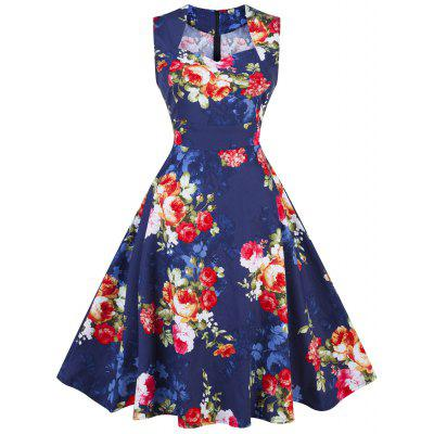 Buy DEEP BLUE 2XL Vintage Floral Print Pin Up Party Dress for $22.91 in GearBest store