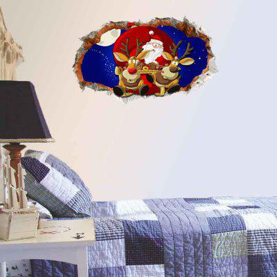 Buy Santa Claus and Christmas Deer 3D Hole Removable Wall Decal, BLUE, Home & Garden, Home Decors, Wall Art, Wall Stickers for $19.02 in GearBest store