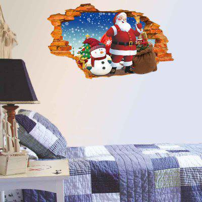 Buy Christmas Snowman and Santa Claus Removable 3D Hole Wall Sticker, BLUE, Home & Garden, Home Decors, Wall Art, Wall Stickers for $18.88 in GearBest store