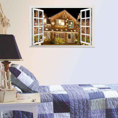 3D Window Christmas House Decorative Removable Wall Sticker