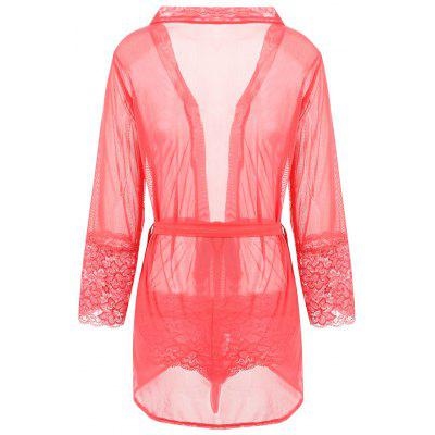 Mesh Sheer Wrap Sleep DressLingerie &amp; Shapewear<br>Mesh Sheer Wrap Sleep Dress<br><br>Embellishment: Lace<br>Material: Cotton, Polyester<br>Package Contents: 1 x Dress  1 x Belt  1 x Panties<br>Pattern Type: Solid<br>Weight: 0.2300kg