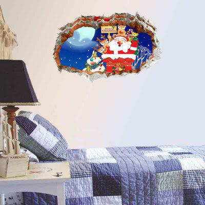 Buy 3D Hole Removable Christmas Decorative Wall Sticker, BLUE, Home & Garden, Home Decors, Wall Art, Wall Stickers for $19.02 in GearBest store