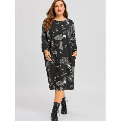 Plus Size Graphic Loose Tunic DressPlus Size Dresses<br>Plus Size Graphic Loose Tunic Dress<br><br>Dresses Length: Mid-Calf<br>Embellishment: Pockets<br>Material: Polyester<br>Neckline: Scoop Neck<br>Package Contents: 1 x Dress<br>Pattern Type: Print, Graphic<br>Season: Fall, Winter<br>Silhouette: A-Line<br>Sleeve Length: Long Sleeves<br>Style: Casual<br>Weight: 0.2600kg<br>With Belt: No