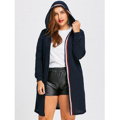 Buy PURPLISH BLUE 5XL Plus Size Ribbed Longline Hooded Cardigan for $29.83 in GearBest store