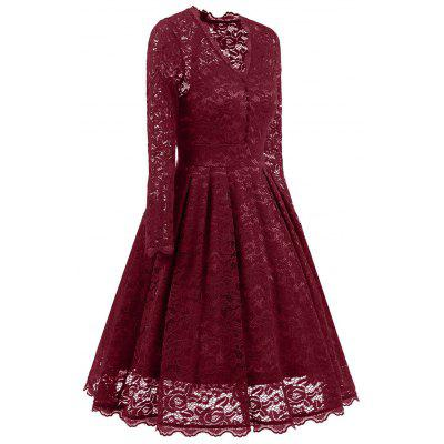 Lace A Line Party Vintage DressWomens Dresses<br>Lace A Line Party Vintage Dress<br><br>Dresses Length: Knee-Length<br>Embellishment: Lace<br>Material: Polyester<br>Neckline: V-Neck<br>Package Contents: 1 x Dress<br>Pattern Type: Solid<br>Season: Fall, Spring<br>Silhouette: A-Line<br>Sleeve Length: Long Sleeves<br>Style: Vintage<br>Weight: 0.4900kg<br>With Belt: No