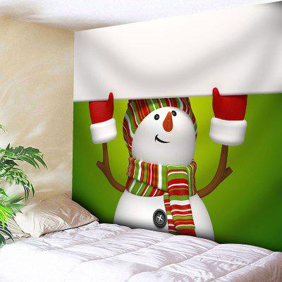 Buy GREEN AND WHITE Christmas Snowman Pattern Wall Art Tapestry for $16.45 in GearBest store