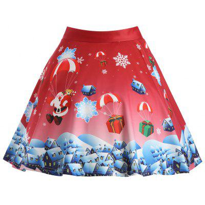 Buy RED 3XL Christmas Gift Santa Claus Print Plus Size Skirt for $20.47 in GearBest store