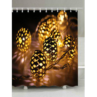 Christmas String Lights Print Waterproof Shower Curtain