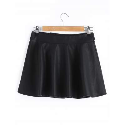 Faux Leather Mini Skater SkirtSkirts<br>Faux Leather Mini Skater Skirt<br><br>Length: Mini<br>Material: Polyester<br>Package Contents: 1 x Skirt<br>Pattern Type: Solid<br>Silhouette: A-Line<br>Weight: 0.3800kg<br>With Belt: No